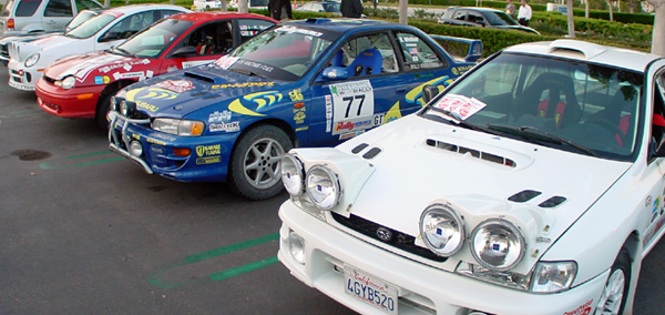 Rally cars at cars and coffee