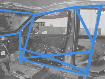 Roll cage options for door bars.