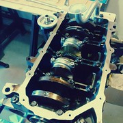 "Obligatory engine picture. Ready for oil pan gasket #allmotor • <a style=""font-size:0.8em;"" href=""http://www.flickr.com/photos/75498260@N00/14928526401/"" target=""_blank"">View on Flickr</a>"
